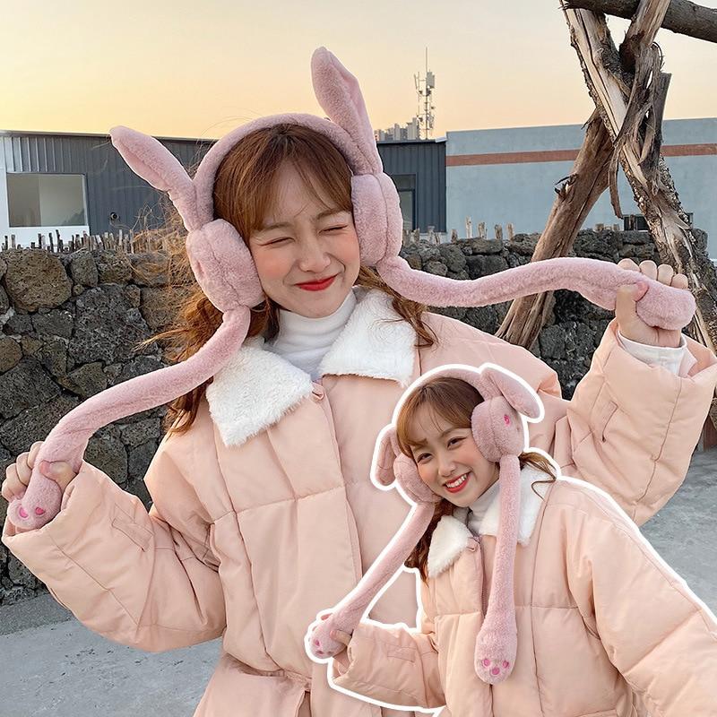 Cute Rabbit Ear Earmuff With Air Sac Women Pure Color Cartoon Imitation Rabbit Hair Soft Fall Winter Creative Embroidery Earmuff