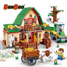 BanBao briques de maison heureuse de ferme de campagne, blocs de construction éducatifs, jouets pour enfants, compatibles avec la marque