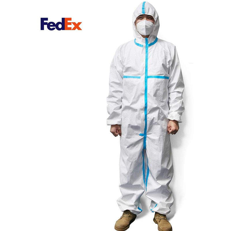 Disposable Protective Coverall Suit, Isolation Suit,Protective Suit  Long Front Zipper,Elastic Waistband & Cuffs,Attached Hood