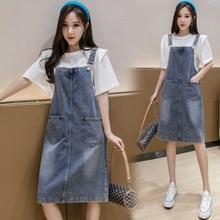 Summer Denim Dress Women 2020 New Korean Style Slim Fit Straps Pocket Overall Sundress Preppy Style Girl Student Dress