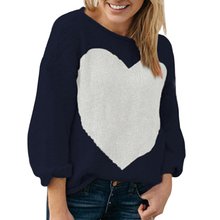 2019 Women Heart Pattern Knitted Sweaters Casual Long Sleeve Crew Neck Sweater Loose Jumpers Patchwork Pullovers Autumn Winter цены