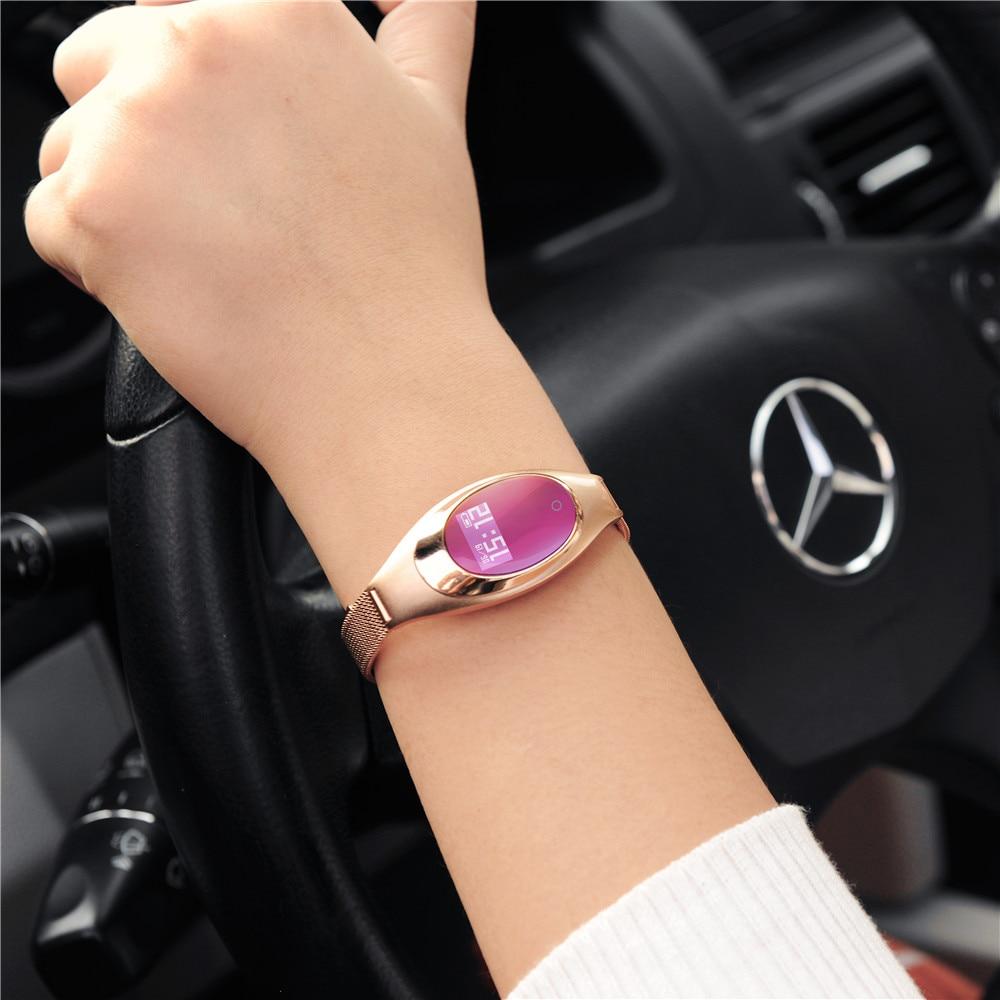 Лидер продаж, женские Смарт-часы, модные Z18, кровяное давление, кислород, пульсометр, умный браслет, часы, шагомер, серебро