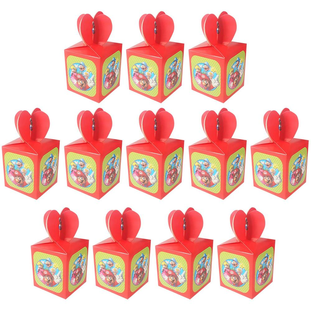 12/24/36/48/60 Pcs Super Mario Theme Candy Box Children Happy Birthday Party Gift Boxes Baby Shower Decor Supplies Gifts Box Hot