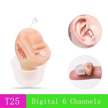 T25 gorące cyfrowe aparaty słuchowe cyfrowe niewidoczne aparaty słuchowe urządzenia słuchowe aparat słuchowy 6 kanałów 12 pasm Dropshipping tanie i dobre opinie ezaisheng Chin kontynentalnych hearing aid sound amplifier digital 6 Channels 12 Bands in the ear mini invisible with A10 battery