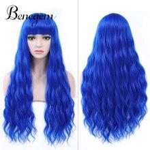 Benegem женский парик с челкой, синяя натуральная волна, 26 дюймов, 66 см, длинные волнистые кудрявые парики, некружевной синтетический парик для косплея