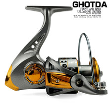 GHOTDA Fishing Coil Wooden Handshake 13BB Max Drag 10KG Spinning Fishing Reel Left/Right Hand Fishing Reel Wheels