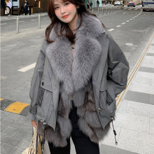 Removeable-Vest Trench-Coat Natural-Fur Real Fox Winter New Warm And Fashion DEAT WP072