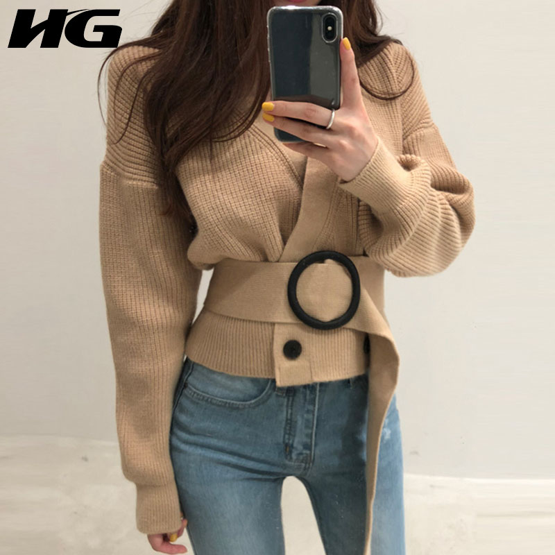 Buy HG Double Breasted Knitwear Women Khaki V Neck Waistbelt Gray Tops Loose Elegant 2019 New Autumn Women Knitted Sweater ZYQ1692 for only 33 USD