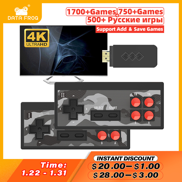 Data Frog Mini 4K Video Game Console Dual Players and Retro Build in 1700+ NES Games Wireless Controller HD/AV Output Prefix