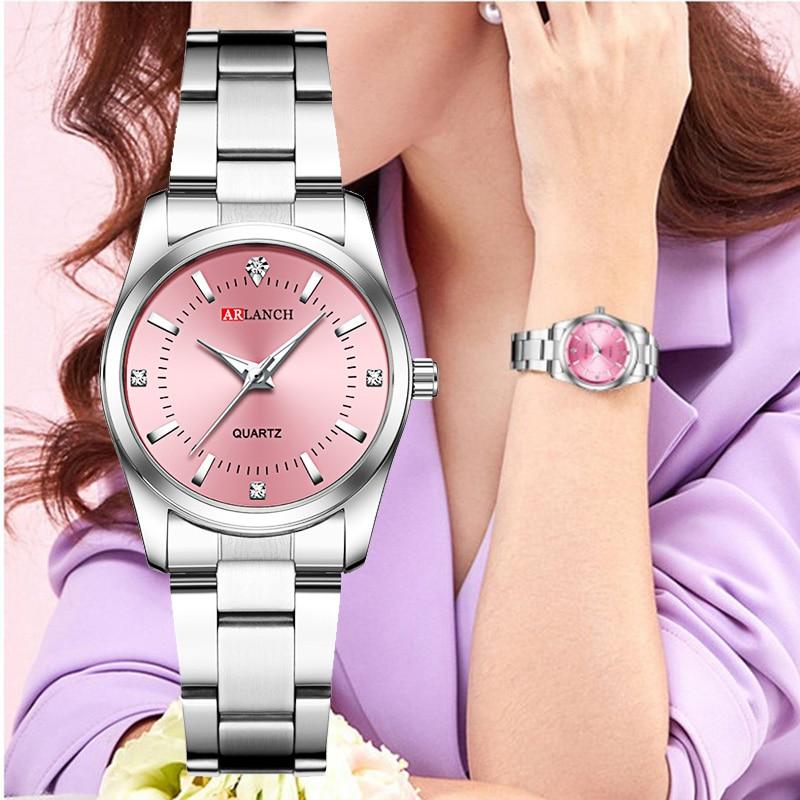 Women Pink Bracelet Watch Luxury Brand Small Ladies Casual Silver Steel Belt Quartz Dress Wrist Watches Diamond Waterproof Clock