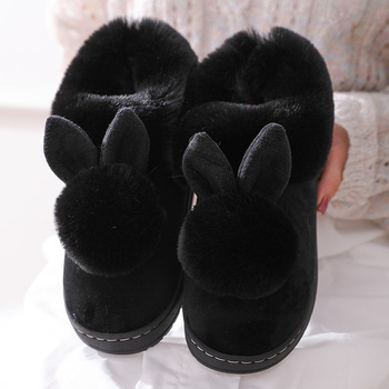 2021 New Fashion Autumn Winter Cotton Slippers Rabbit Ear Home Indoor Slippers Winter Warm Shoes Womens Cute Plus Plush Slippers 3