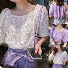 Женская прозрачный сексуальный рубашка мода топ лето 2020 дует пузырь с коротким рукавом квадратных воротник случайные свободные blusas блузки #7.4