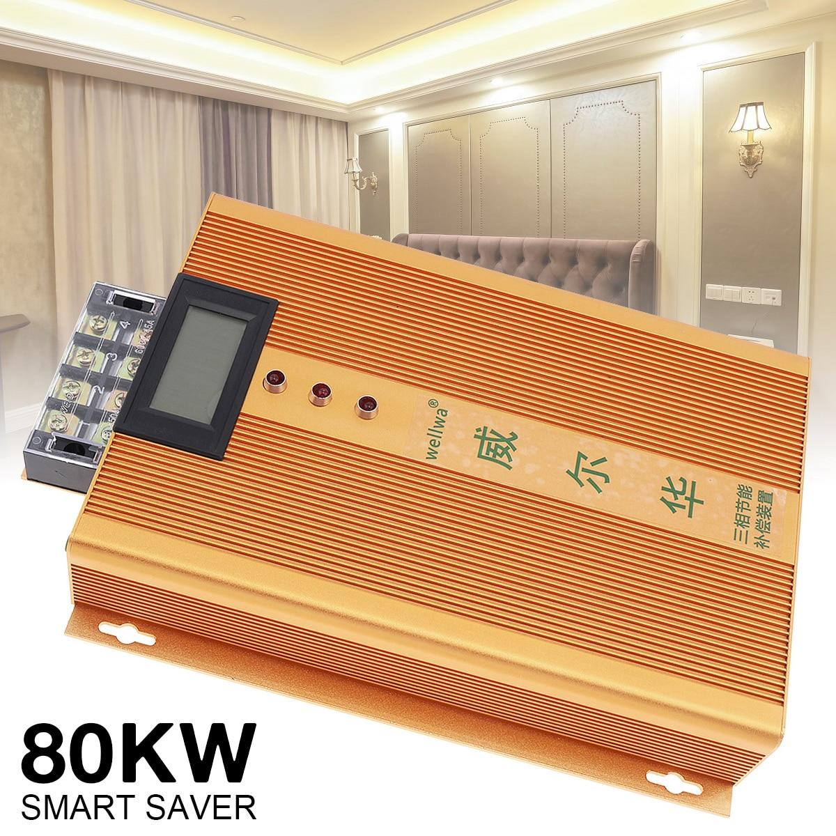 Boîte économiseuse d'énergie intelligente triphasée industrielle de ca 90-450V 80KW d'or avec l'affichage LED et le fusible indépendant