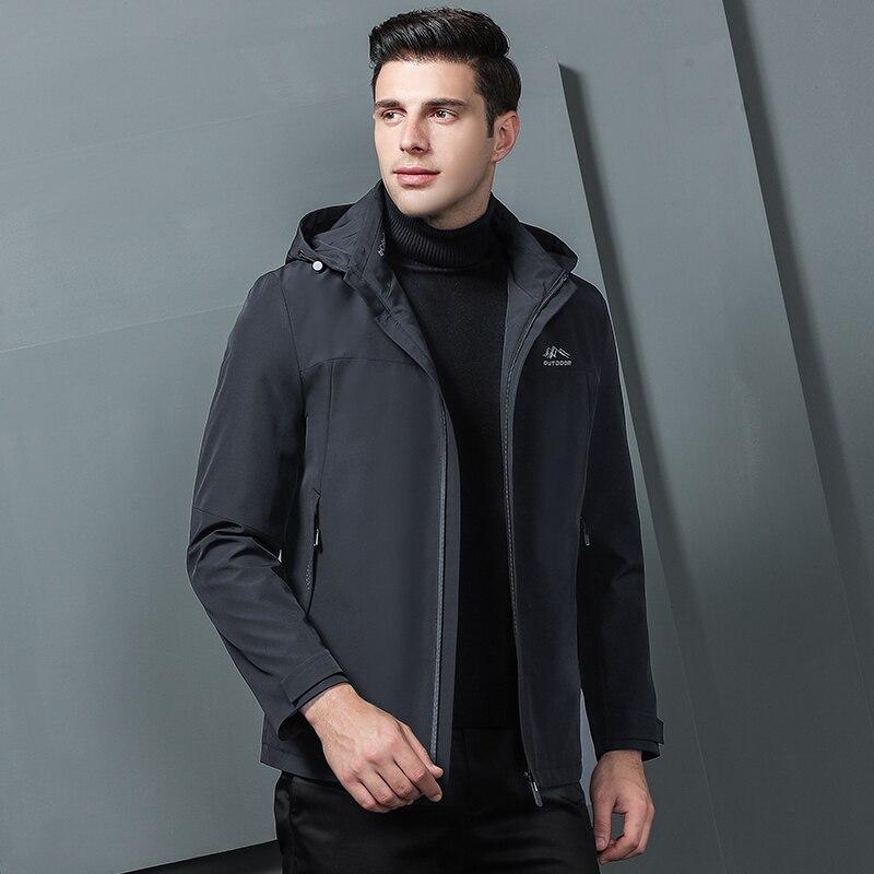 Куртки бомберы мужские 2019 зимние куртки мужские черные модные пальто с капюшоном куртки мужская одежда серая Осенняя верхняя одежда - 4