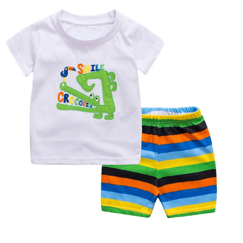 TUONXYE Children's Cute Crab Design Nightwear Boys Short Sleeve Pajamas Set Kids Pijama for Summer Home Wear Clothing 5