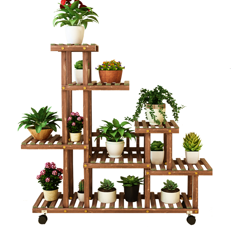 Airs Indoor Solid Wood Flowerpot Frame A Living Room Multi-storey Landing Type Botany Potted Plant Balcony Shelf Simplicity