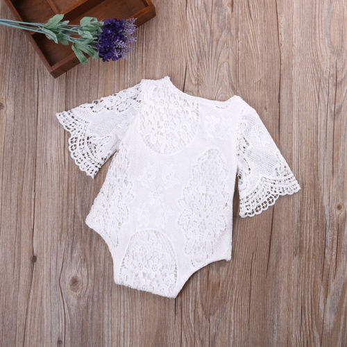 Short Sleeve Lace Romper For Newborn Baby Girl Summer Lace Crochet Jumpsuit
