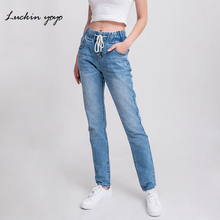 luckinyoyo jean woman mom jeans pants boyfriend je