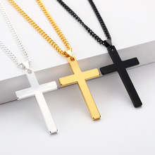 Classic Cross Necklace Pendant for Men Boy Black Gold Silver Color Crucifix Necklaces Male Jewelry Gift Religious Christian stylish christian cross w eye style decoration pendant necklace silver