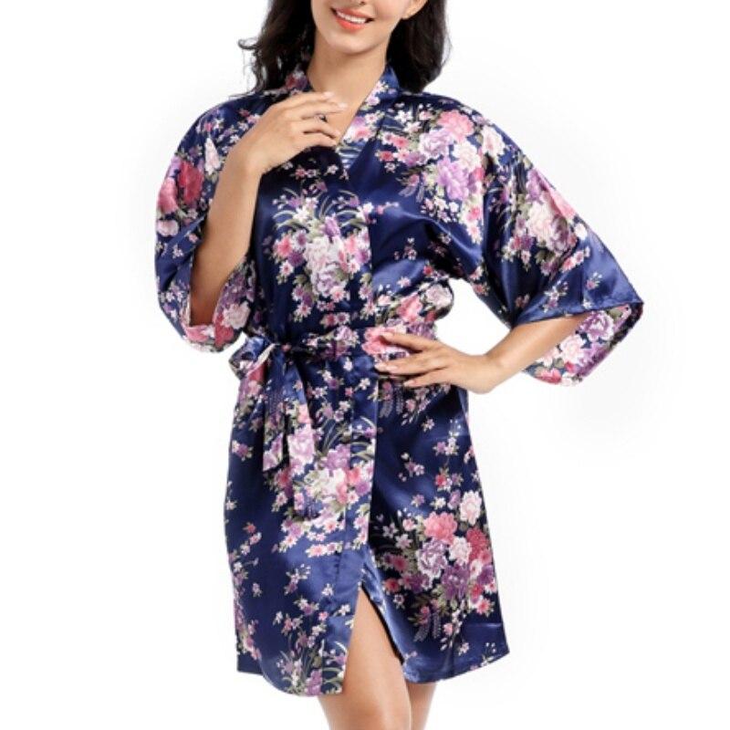 Kimono Robes Flower Print Women's Nightrobe Silk Satin Wedding Bride Night Dressing Gown Sleepwear Sexy Ladies Nightgowns