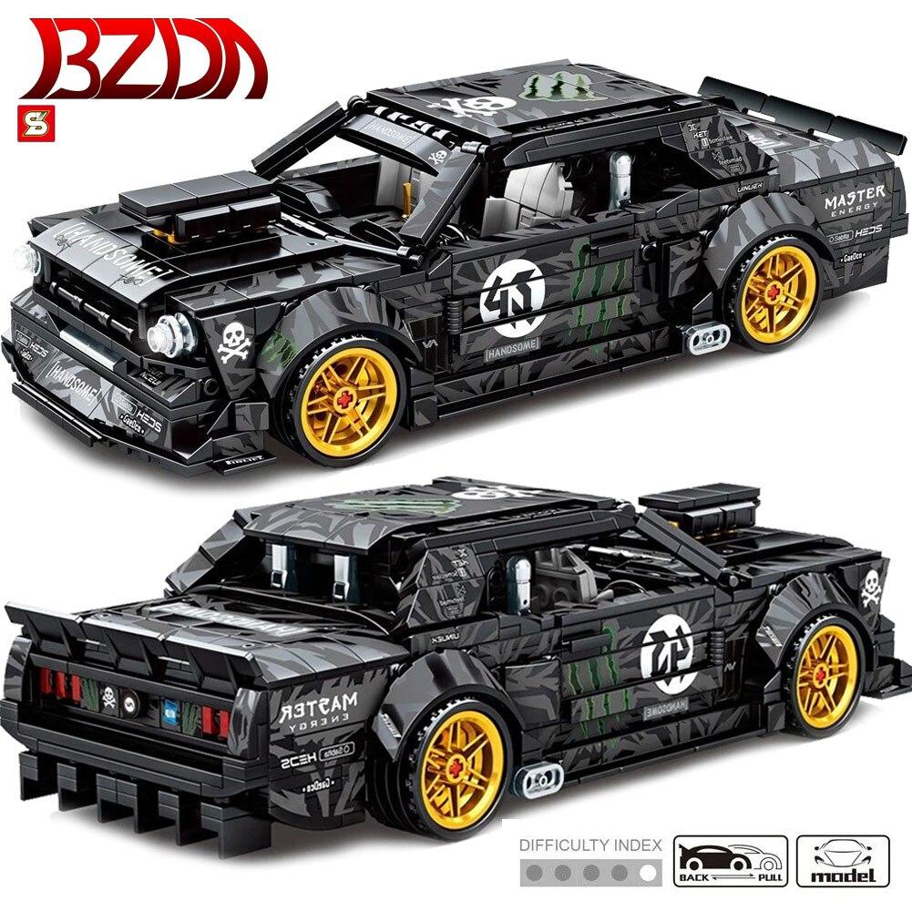 BZDA Famous Car Vehicle Ford Mustang 828 Pcs Model Building MOC Blocks Pull Back Racing Cars Bricks Assemble Toys For Children
