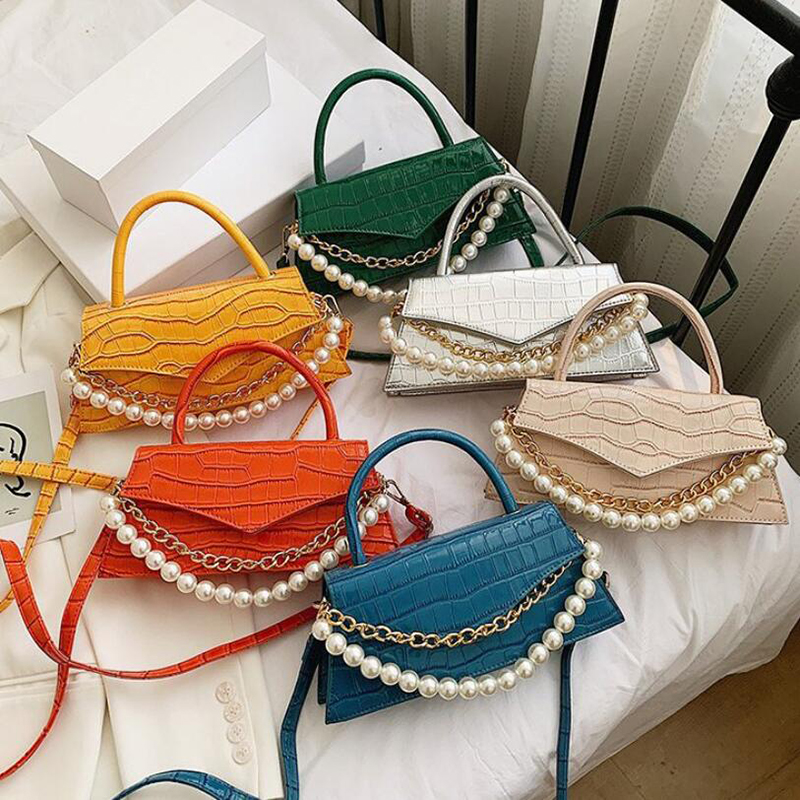2021 New 12 Colors Pearl Chain Accessories Handbag Fashion One-Shoulder Messenger Female Bag