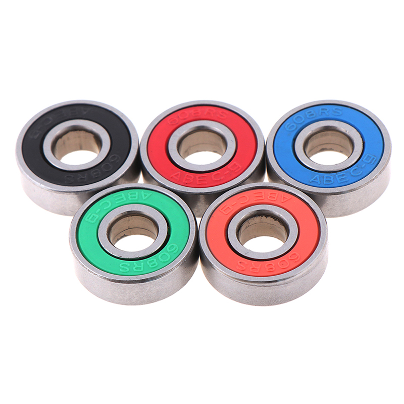 5x <font><b>ABEC</b></font>-<font><b>9</b></font> <font><b>608</b></font> <font><b>2RS</b></font> Inline Roller Skate Wheel Bearing Anti-rust Skateboard Wheel Bearing Red Sealed 8x22x7mm shaft image