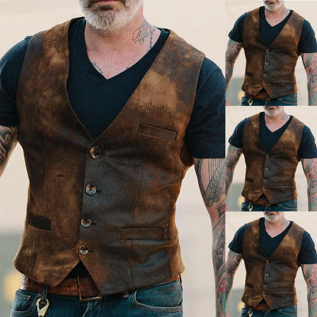 Vest Men Sleeveless Jacket Explosion Models European And American Fashion Retro Men's Single-breasted Vest жилетка мужская