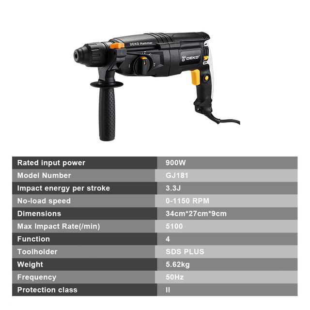 DEKO 220V 26mm 4 Functions AC Electric Rotary Hammer with BMC and 5pcs Accessories Impact Drill Power Drill Electric Drill 3