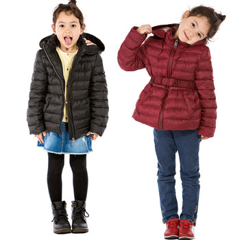 2019 Autumn and Winter B Home with Korean Children's Clothing Girls Hooded Long Waist Down Jacket Comfortable Warm Down Jacket