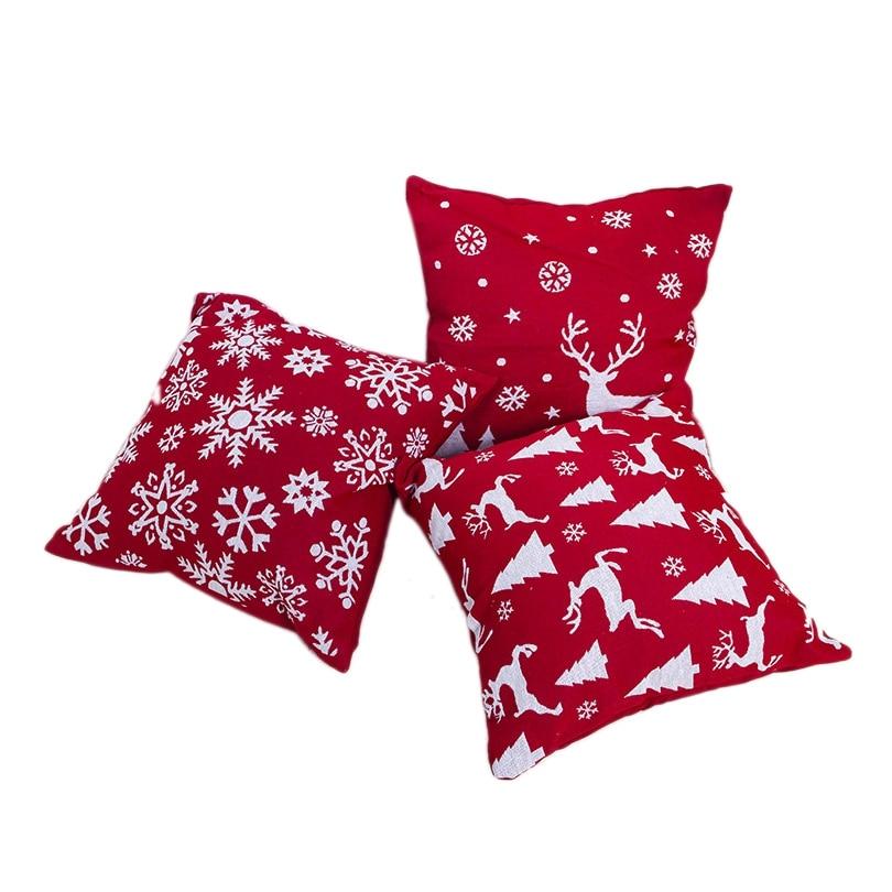 1Set 3 Pcs Christmas Pillowcase Square Pillow Cover Cushion Case Toss Pillowcase Christmas Style Pattern Pillow Case Decor 45X45