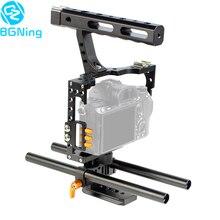 Plate forme de stabilisateur de Film vidéo de Cage de caméra dalliage daluminium + poignée supérieure + tige pour Sony A7II A7R A7SII A6000 A6500 Panasonic GH4