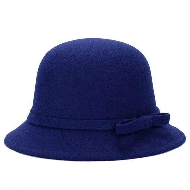 Women Wool Church Cloche Flapper Hat Lady Bucket Winter Flower Cap Wool Winter