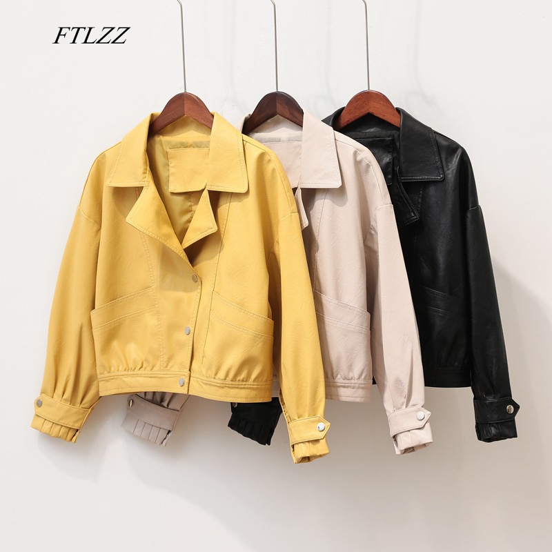 FTLZZ Faux Soft Leather Loose Basic Jackets Women Autumn Turndown Collar Single Breasted Pu Motorcycle Black Punk Female Outwear