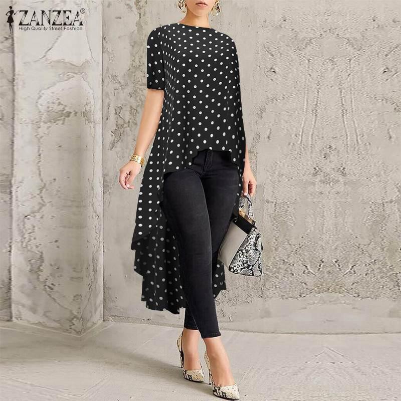 Top Fashion 2020 ZANZEA Summer Tunic Tops Women Printed High Low Shirt Short Sleeve Polka Dot Blouse Female Long Blusas Chemise