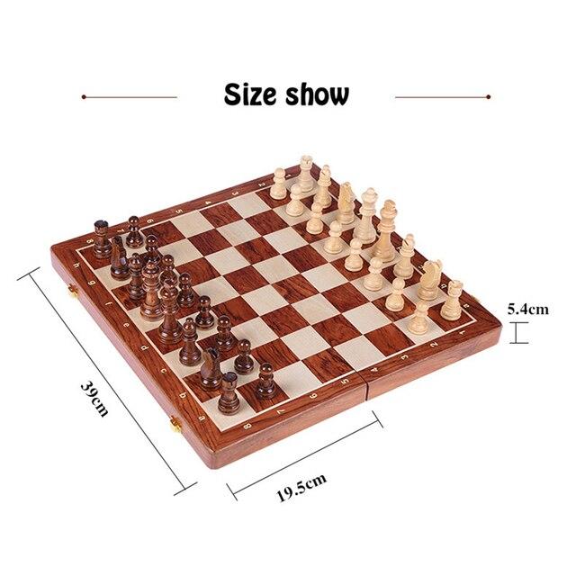 Jeu d'échecs pliable avec 4 reine en bois 39x39 cm 3