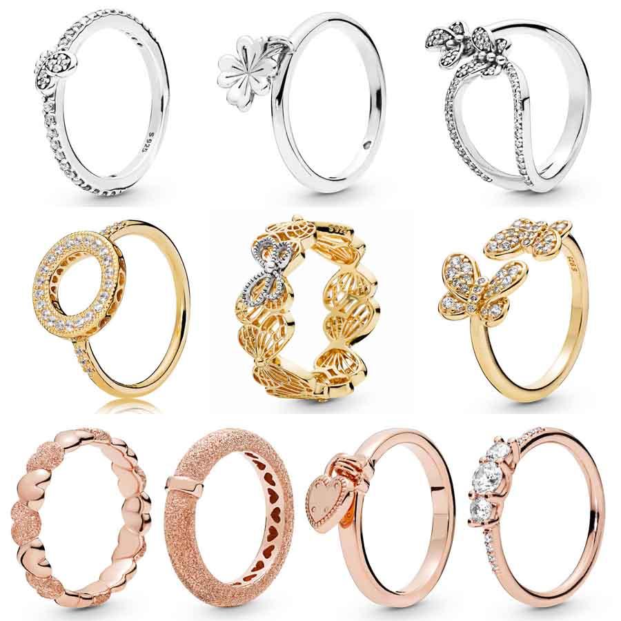 Openwork Shine Ring Gold Butterflies Love Lock Matte Brilliance Hearts