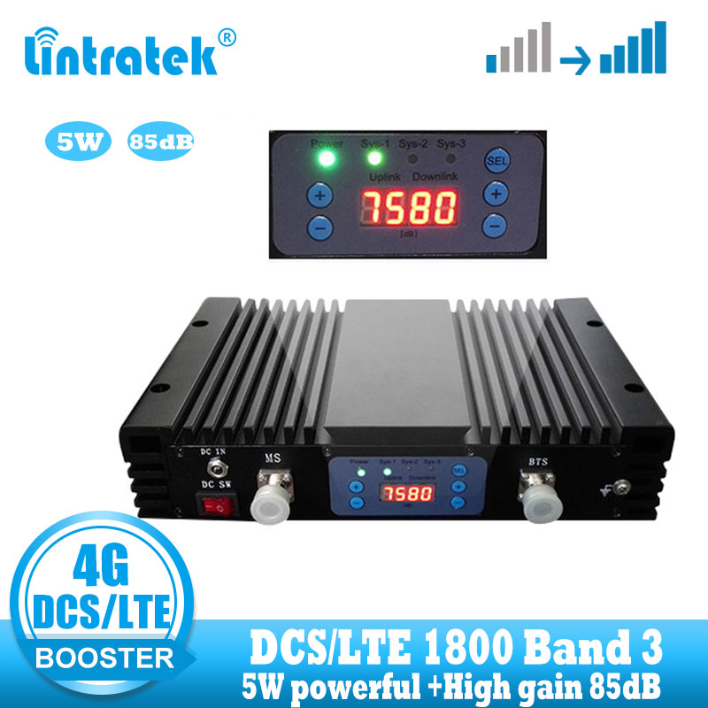 Lintratek 37dBm 85dB Gain 4g LTE Signal Booster DCS 1800 Mhz Repeater GSM 4G 1800mhz Cellular Mobile Signal Amplifier