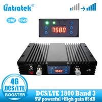 Lintratek 37dbm 85db ganho 4g lte sinal impulsionador dcs 1800 mhz repetidor gsm 4g 1800 mhz celular móvel amplificador de sinal
