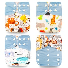 Happyflute HOt Sale OS Pocket Diaper 4pcs set Washable amp Reusable Baby Nappy New Print Adjustable Baby Diaper Cover cheap Unisex 3-15 kg CN(Origin) 0-6m 7-12m 13-24m 25-36m Others LABS Pants Nappies polyester suede cloth to put the extra insert