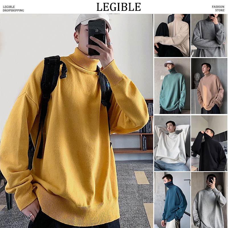 LEGIBLE Men 9 Colors Turtleneck Loose Sweaters 2019 Mens Autumn Winter Pullovers Tops Male Korean Fashion Sweater Clothing