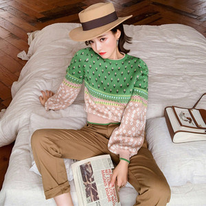 Image 3 - Women Jacquard Knit Cropped Sweater 2019 Autumn Latern Sleeve Lurex Color Block Pullover Fresh Crop Jumper Sueter Mujer Invierno