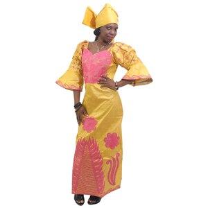 Image 4 - MD African Traditional Dress Women Bazin Riche Ankara Maxi Dresses Nigerian Wedding Embroidery Dashiki Dress With Headtie Turban