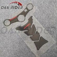 Para honda cbr600 f4i 2001 2002 2003 2004 2005 2006 2007 motocicleta tampa do tanque de fibra carbono almofada dianteira superior superior braçadeira adesivo decalque