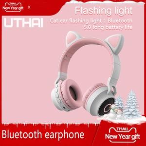 Image 2 - UTHAI D37 auriculares TWS, inalámbricos por Bluetooth 5,0, auriculares estéreo Oreja de Gato portátiles para Android / los / Windows