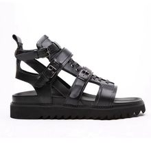 2020 Italian New Cow Real Leather High Top Men Beach Sandals Thick Platform Lace Up Buckle Strap Hollow Out Punk Gladiator Shoes(China)