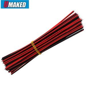 (40 sztuk) 10CM 2pin drutu kabel, czerwony czarny drut, AGW22 cienki drut miedziany, elektroniczny cablb, przedłużacz drutu do CCTV, dźwięk, moc