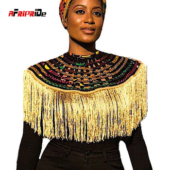 цена на African Multistrand Necklace Shawl Fringe decoration Ankara African Net Necklaces Shawl Collar Women Clothings Accessories SP056