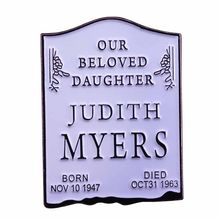 Tombstone brooch first victim rip Judith myers pin horror movie gift Halloween cinema cemetery collection(China)