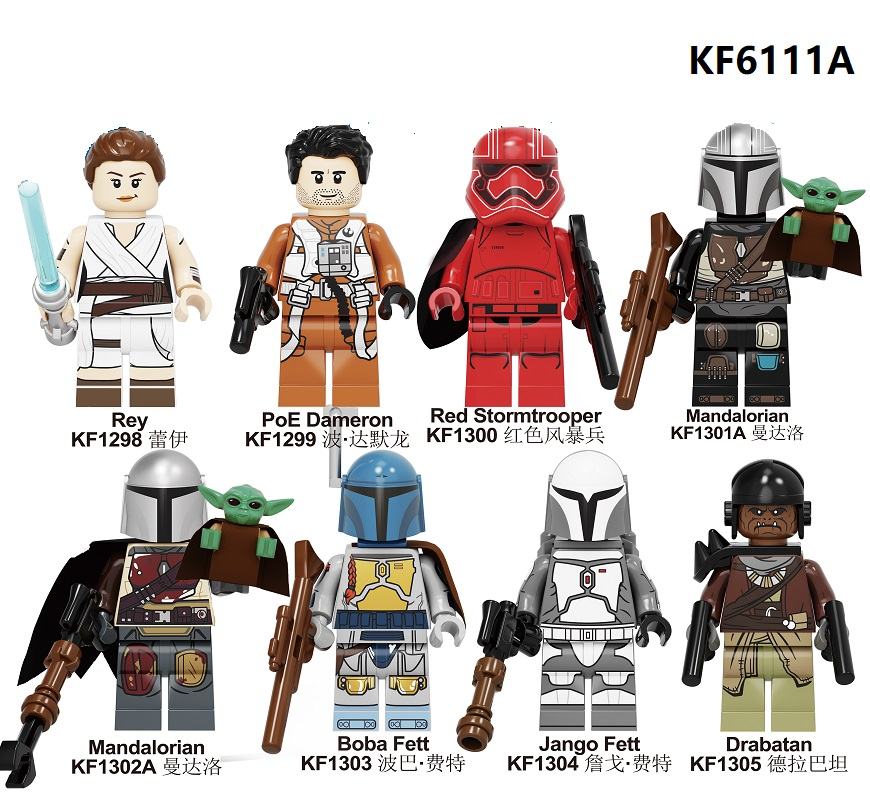 Building Blocks Wars Yoda Baby Darth Vader Rey PoE Dameron Mandalorian Jango Fett Drabatan Figures For Children Toys KF6111A